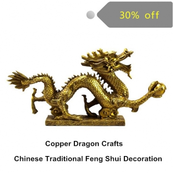 Feng shui Chinese Traditional Decoration Copper Dragon Metal Crafts Feng Shui sculpture for home decoration vintage home decor
