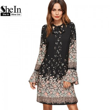 Women Clothing Floral Print Dresses Wome Spring Black Tie Neck Long Flare Sleeve Casual A Line Dress